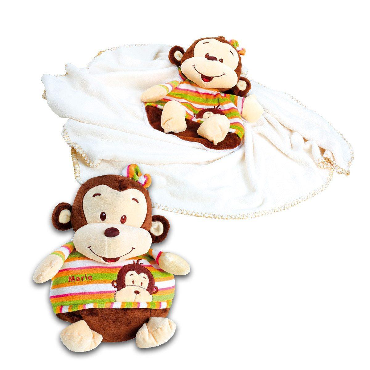 2 in 1: Kuscheläffchen und Babydecke mit Namen