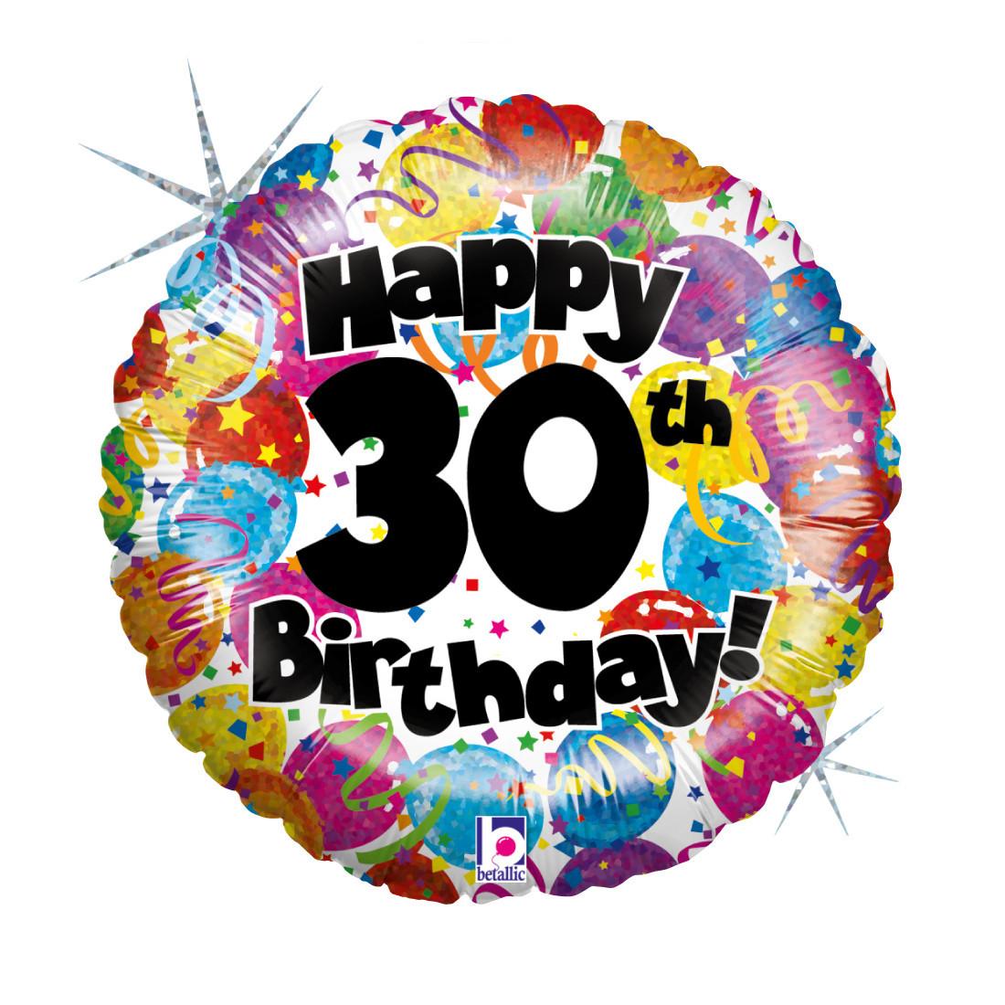 """30. HAPPY BIRTHDAY 46 CM/ 18 """" HOLO"""