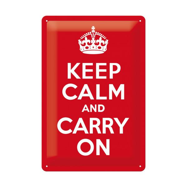 "Blechschild ""Keep calm and carry on"""