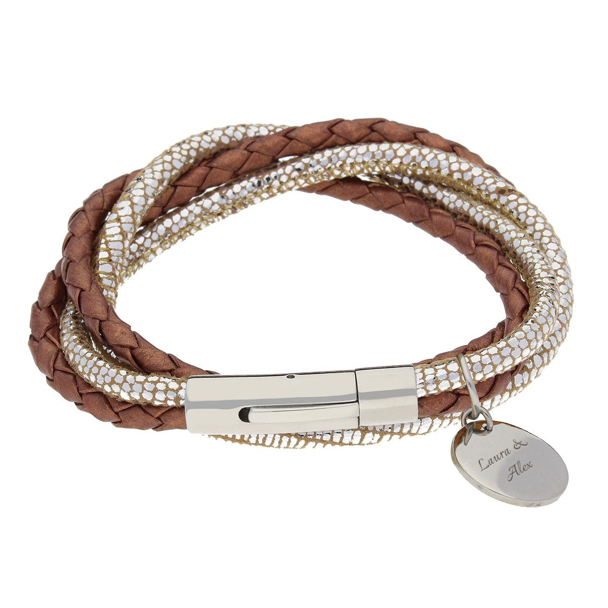 Bracelet en cuir tressé & doré avec gravure