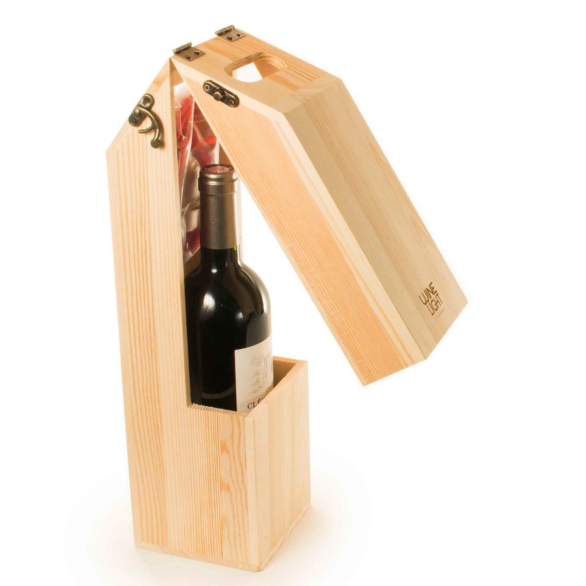 Caja de vino personalizable convertible en lámpara