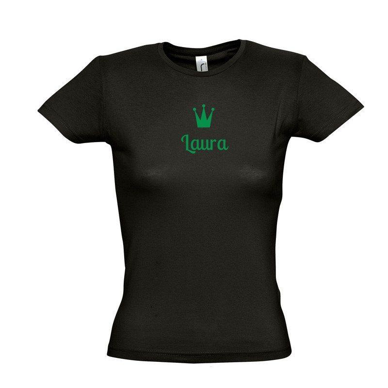 Camiseta de mujer con nombre y corona