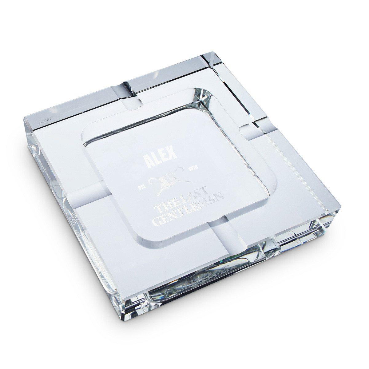 Cenicero XXL de vidrio con elegante grabado individual