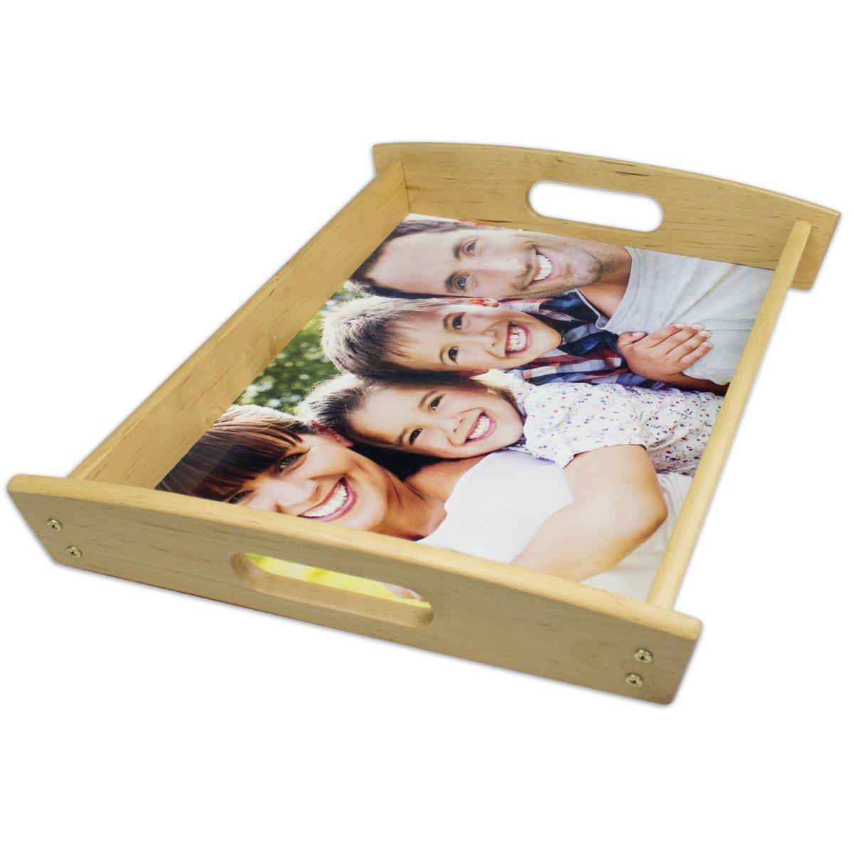 Edles Massivholz-Tablett mit Foto