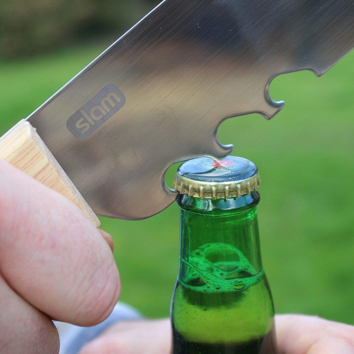Espátula machete para barbacoa de acero fino con grabado