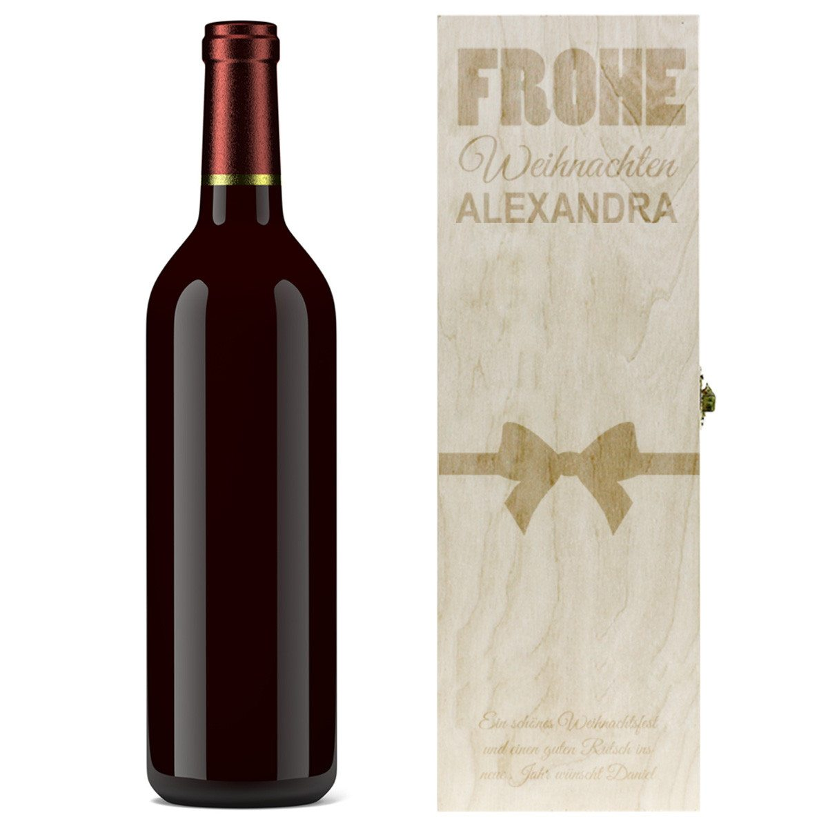 Geschenkbox für Weinflaschen mit Weihnachtsgravur