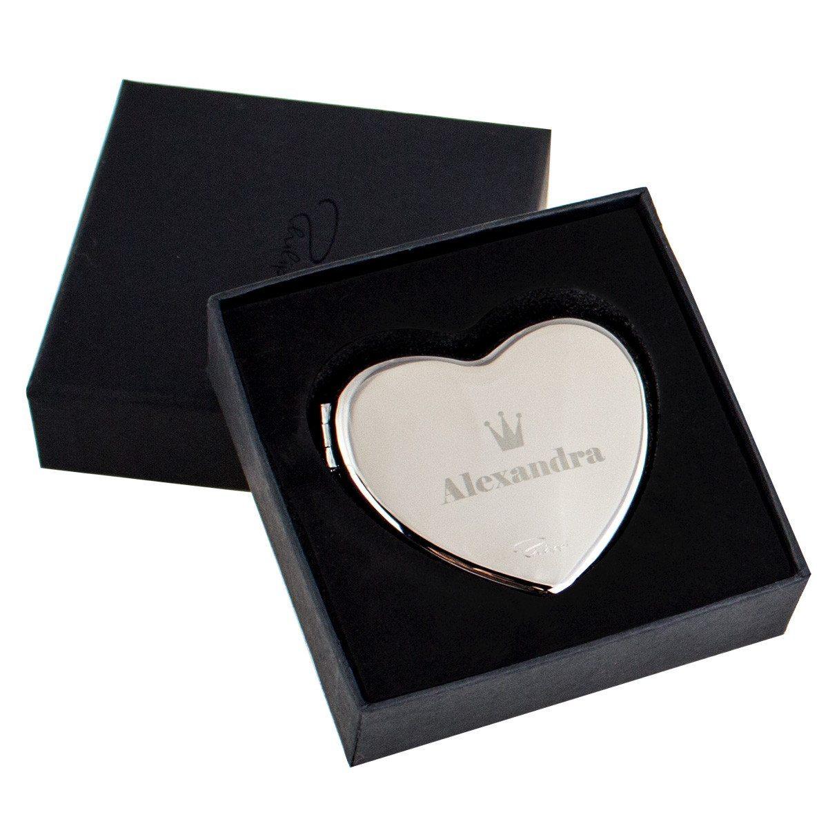 Hochwertiger Herz-Taschenspiegel mit Gravur