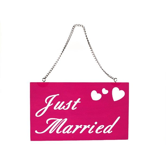 "Holzschild ""Just married"""