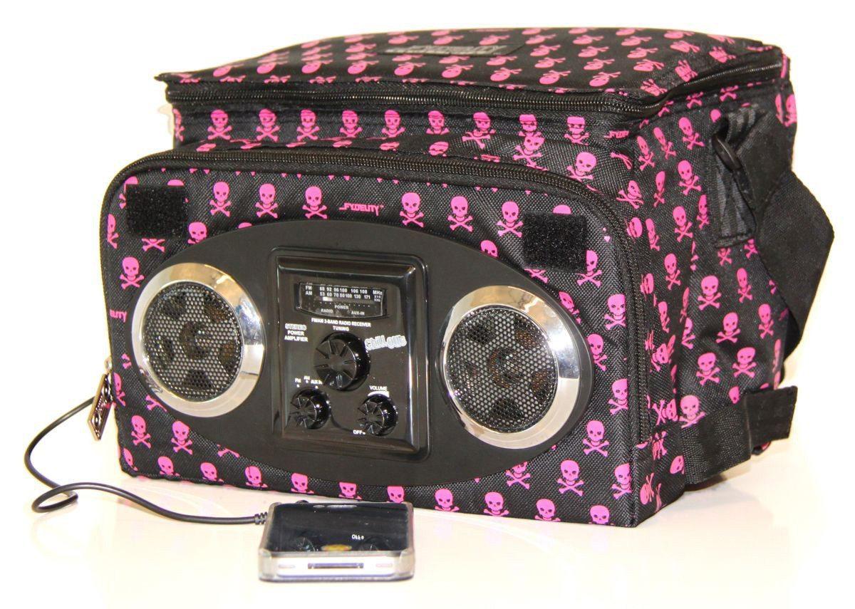 Kühltasche mit Lautsprecher pink skull