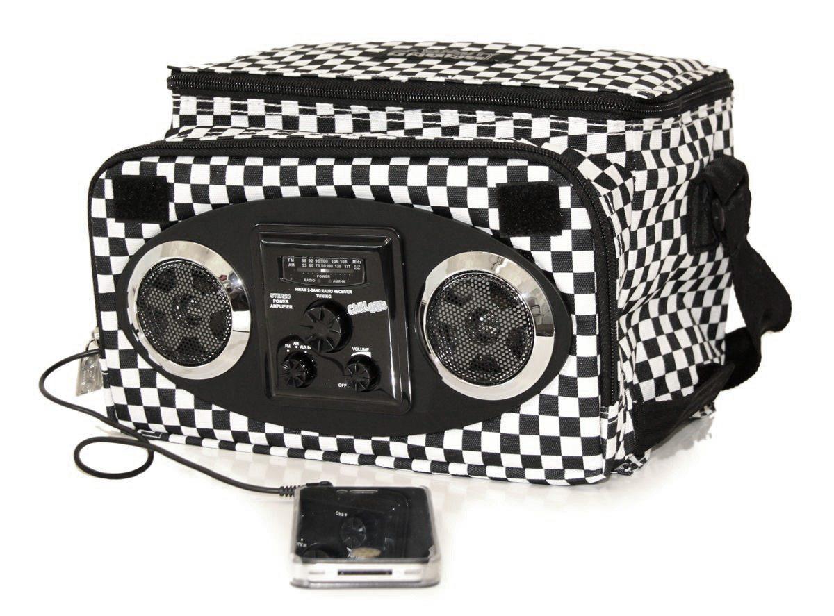 Kühltasche mit Lautsprecher schwarz-weiß