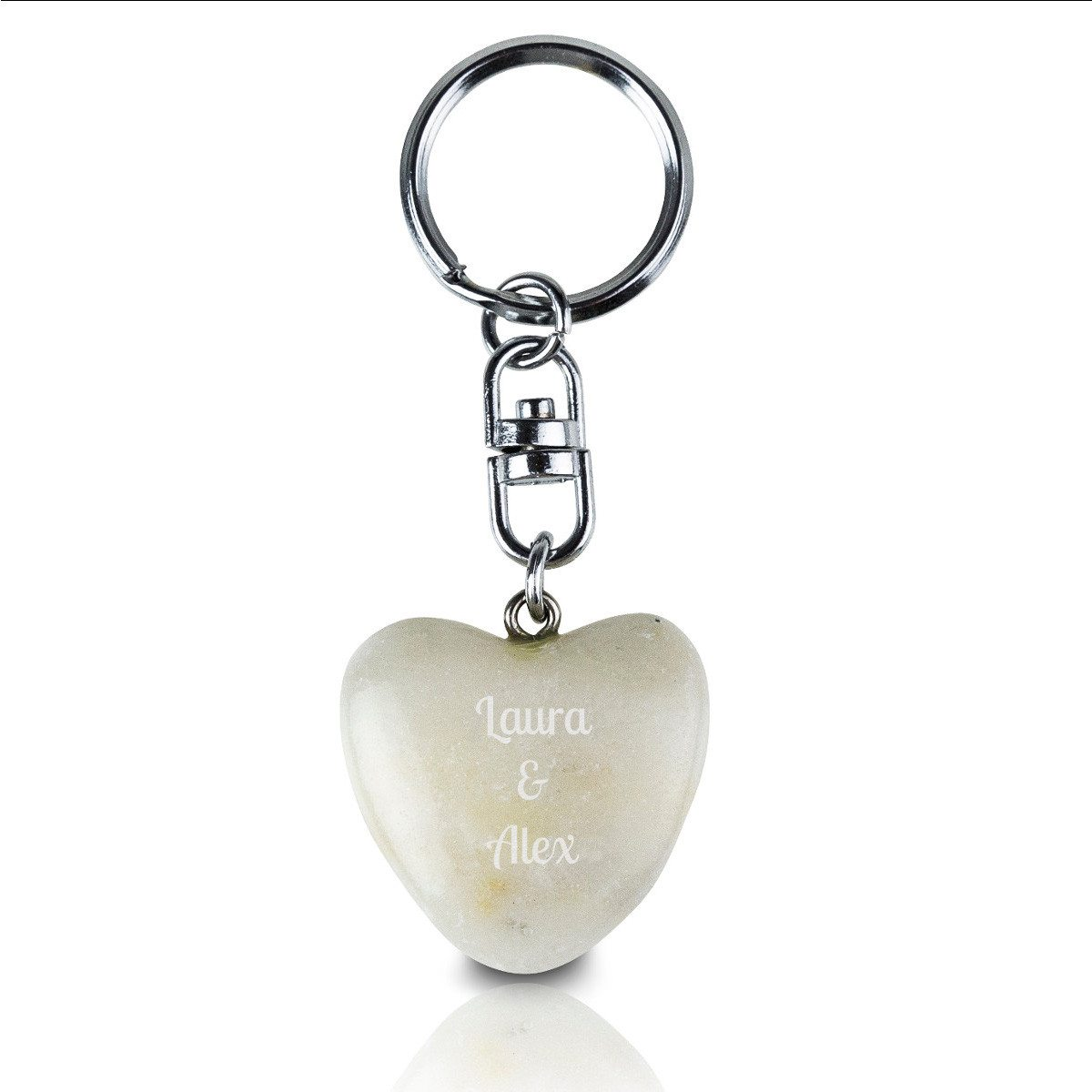 Llavero Piedra en forma de corazón – con grabado