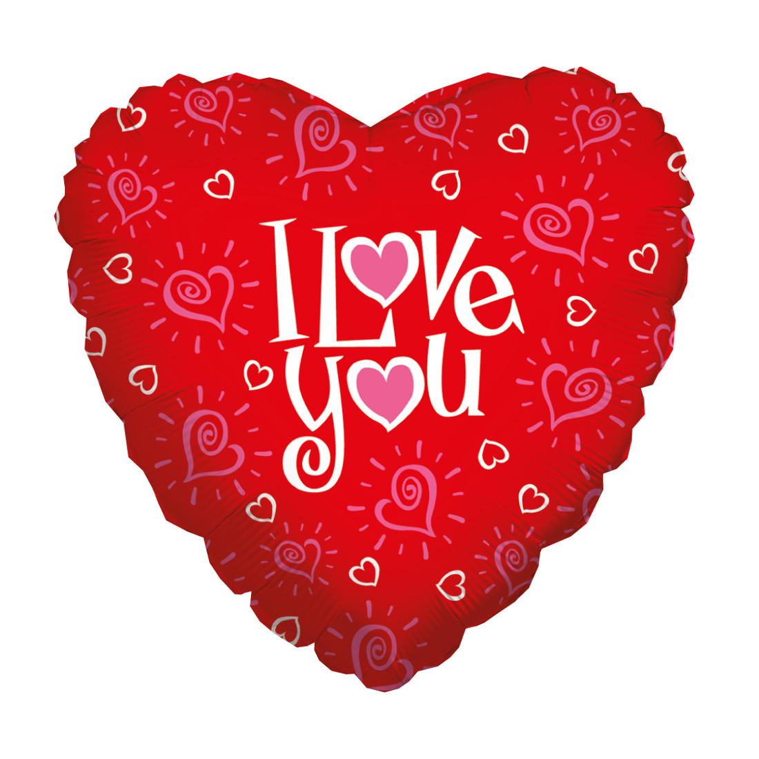 "LOVE YOU HEARTS 46 CM/ 18"""