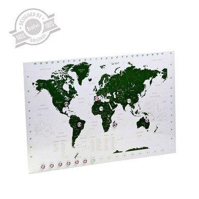 Mapamundi y planificador de viajes magnético