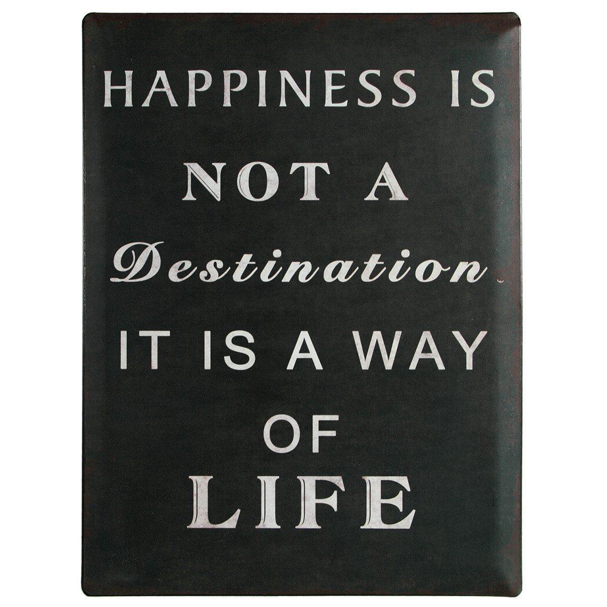 """Nostalgie-Blechschild """"Happiness is not a destination …"""""""