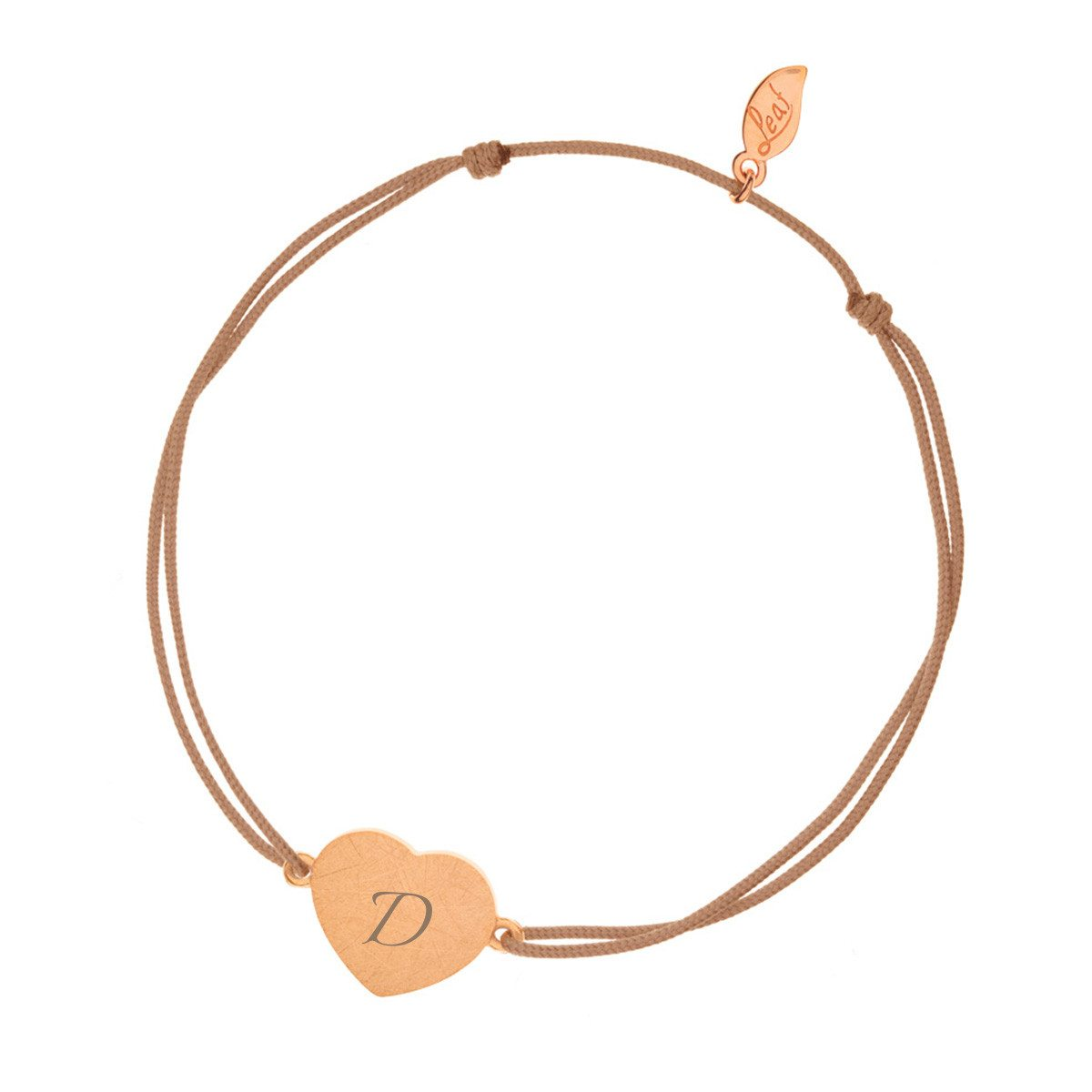 PERSONALIZED ROSEGOLDEN HEART-DISC BRACELET WITH INITIALS