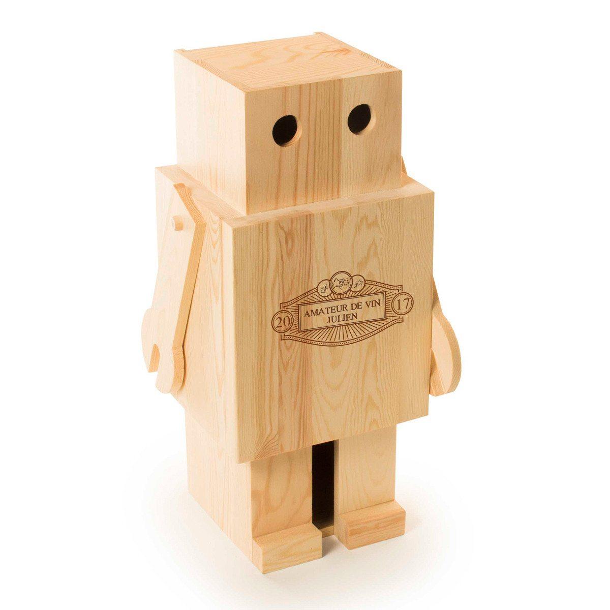RACKPACK – gravierte Geschenkbox für Wein: Roboter