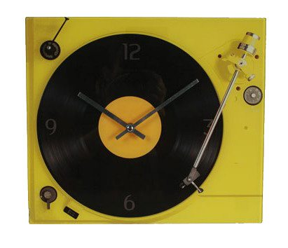 Reloj tocadiscos para melómanos retro