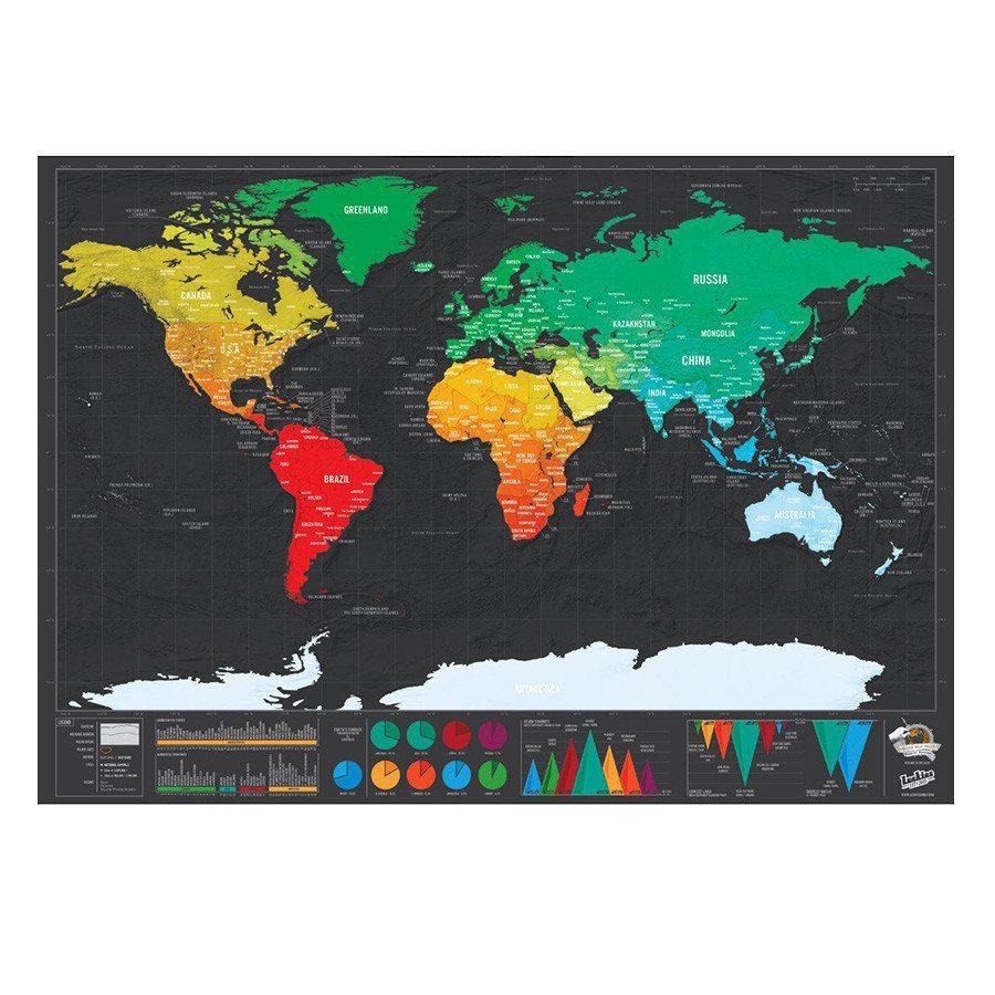 Rubbel-Weltkarte de luxe - Reiseformat