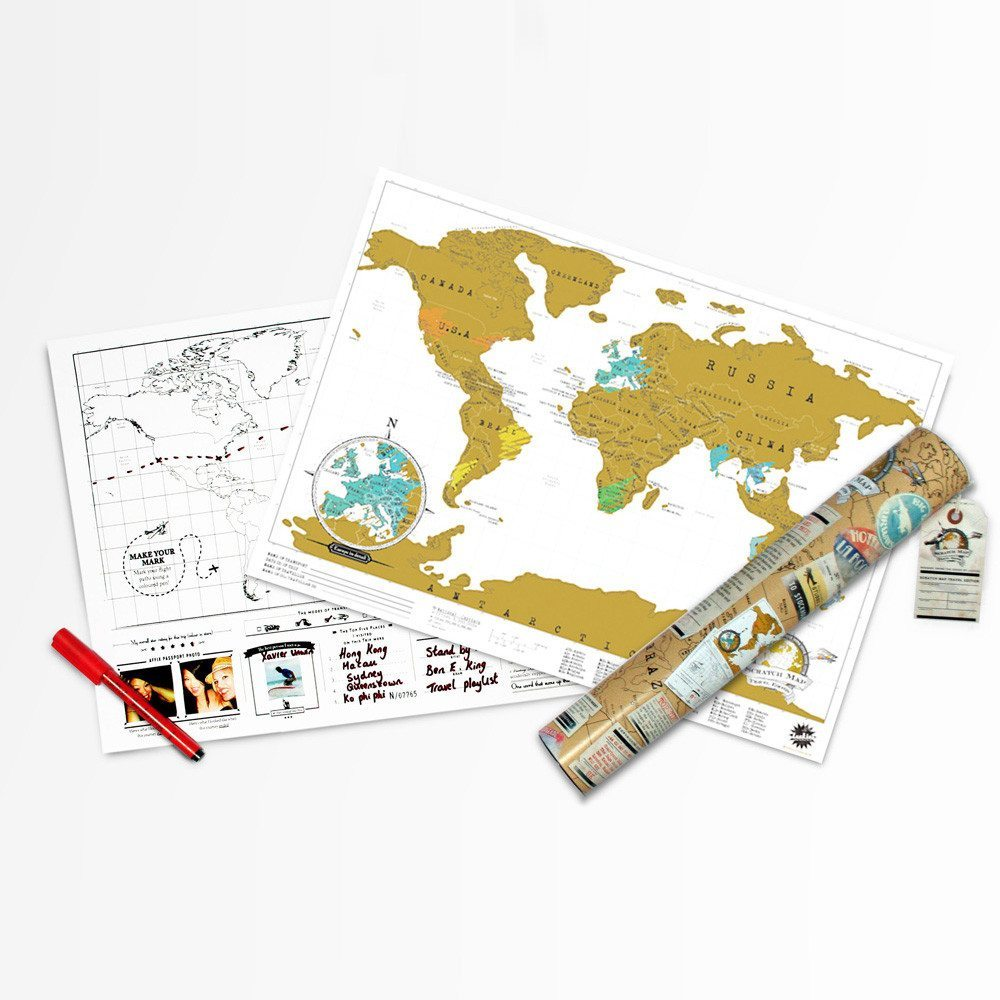 Rubbel-Weltkarte im Reiseformat