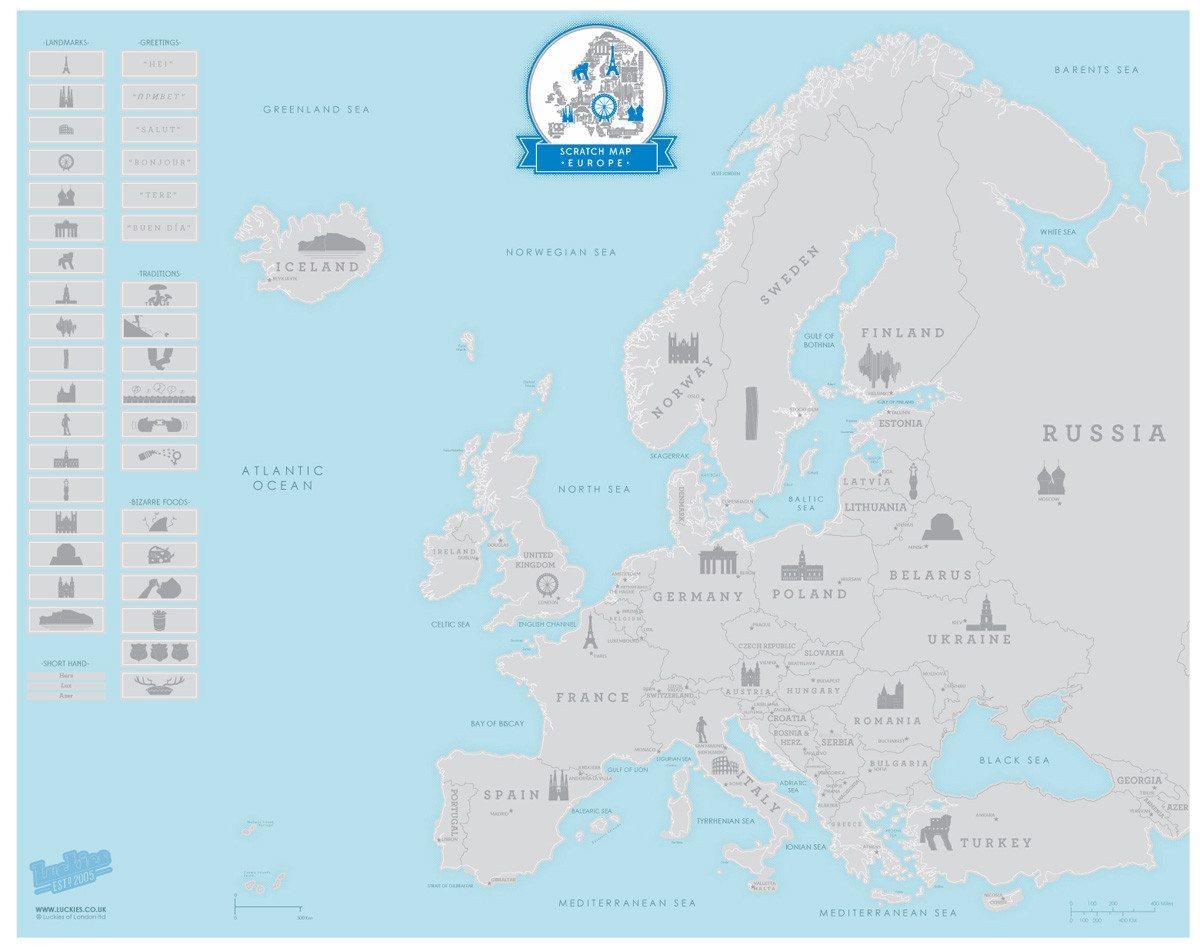 Rubbelkarte Europa
