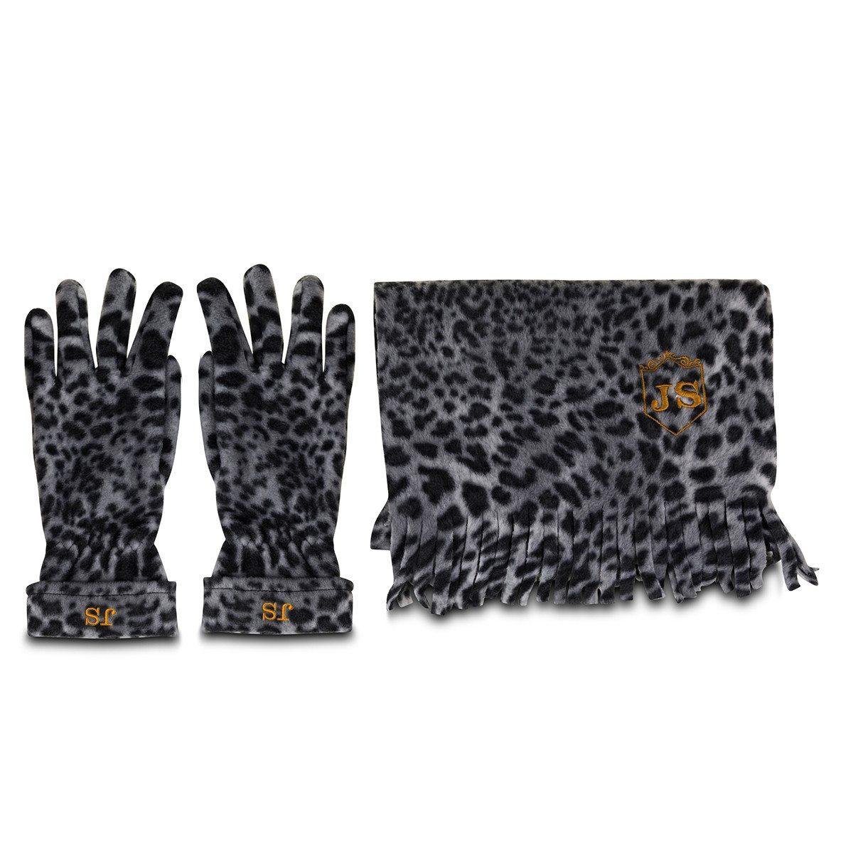 """Schal und Handschuhe """"Schneeleopard"""" – mit Initialen"""