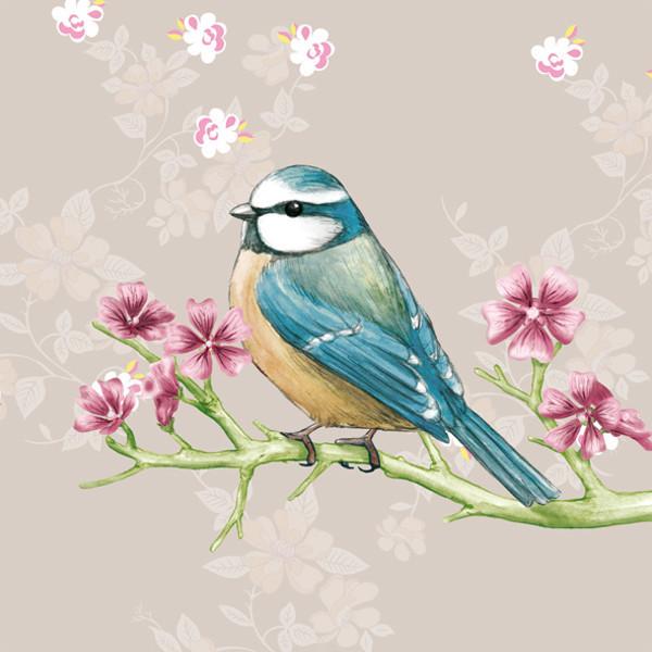 Serviette Vögelchen mit Blütenzweig