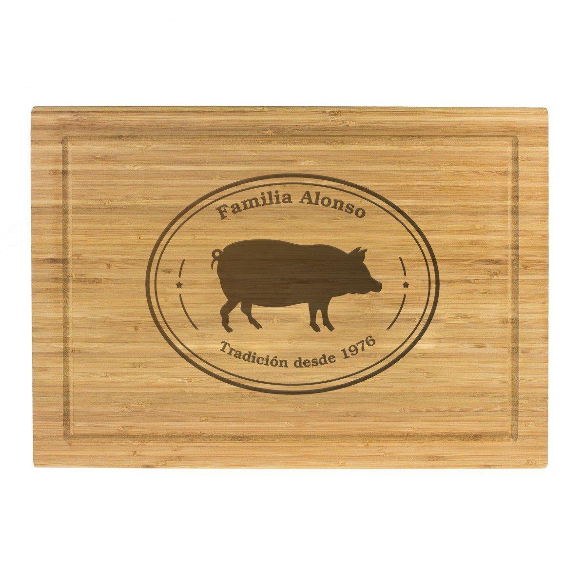 Tabla de cortar de madera con grabado personalizado