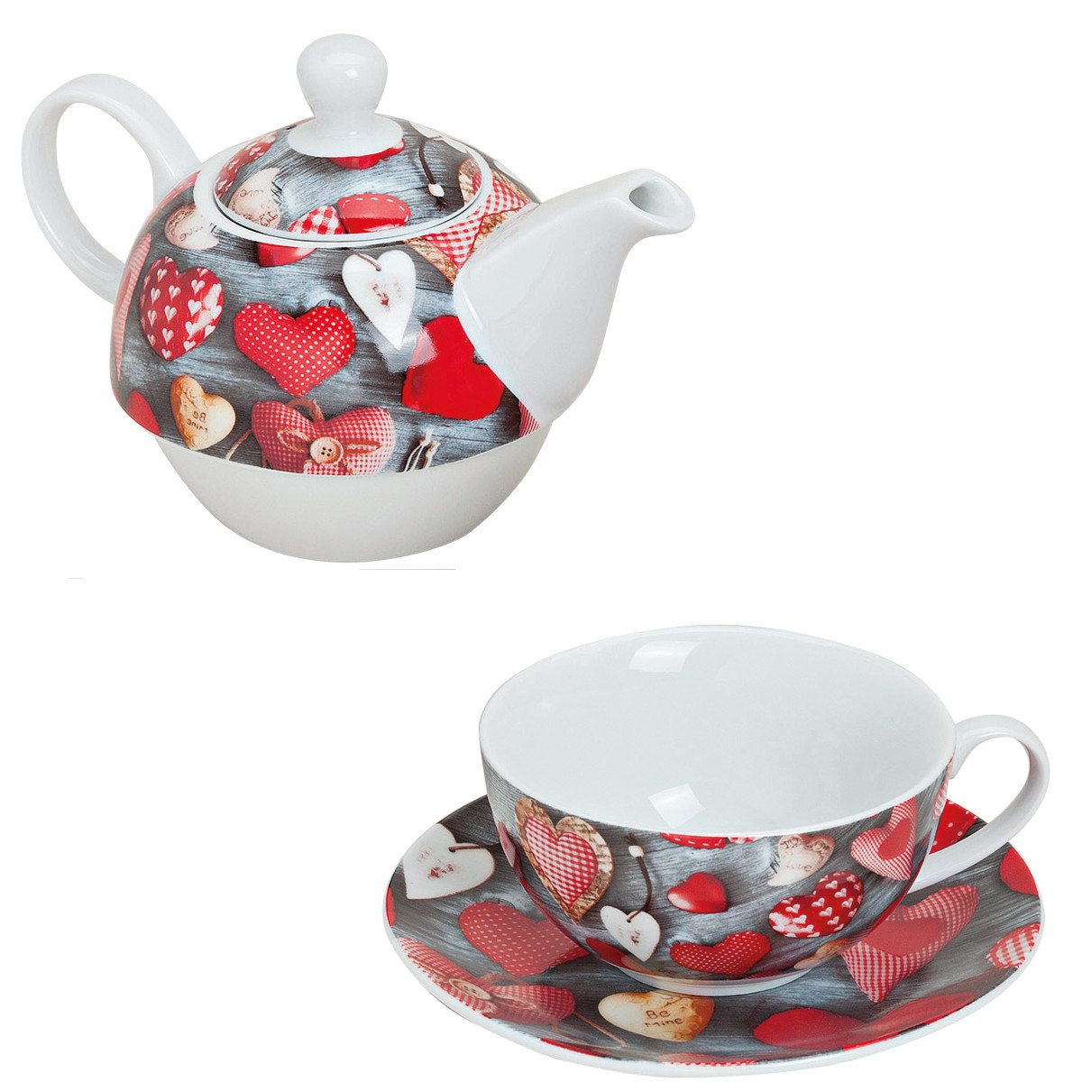 "Tea for one: Teekanne mit Tasse ""Herzen"""