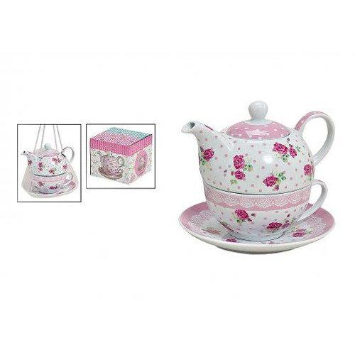 """Tea for one: Teekanne mit Tasse """"Rosen"""""""
