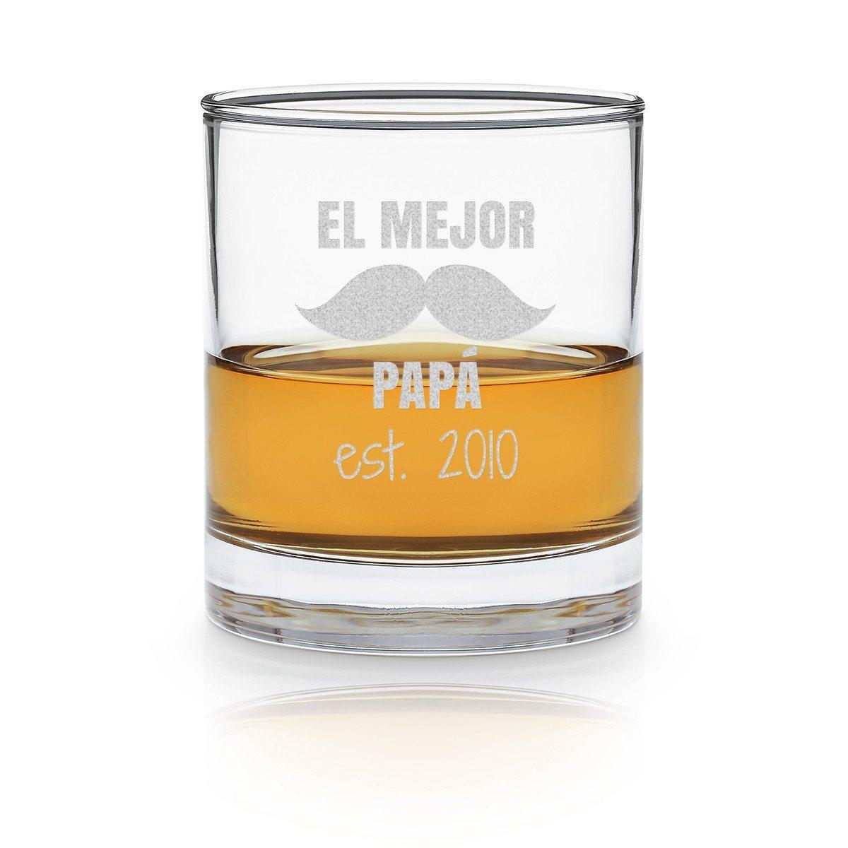 """Vaso de whisky """"El mejor papá"""" con fecha personalizable"""