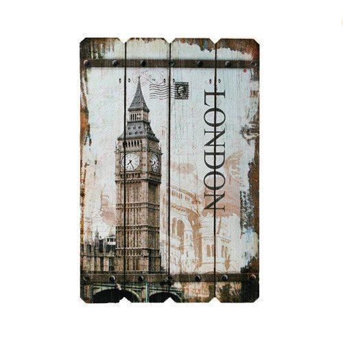 """Vintage-Holzschild """"Paris""""/""""London"""""""