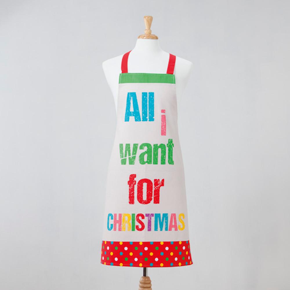 Weihnachtliches Küchenset aus Schürze und Handschuh