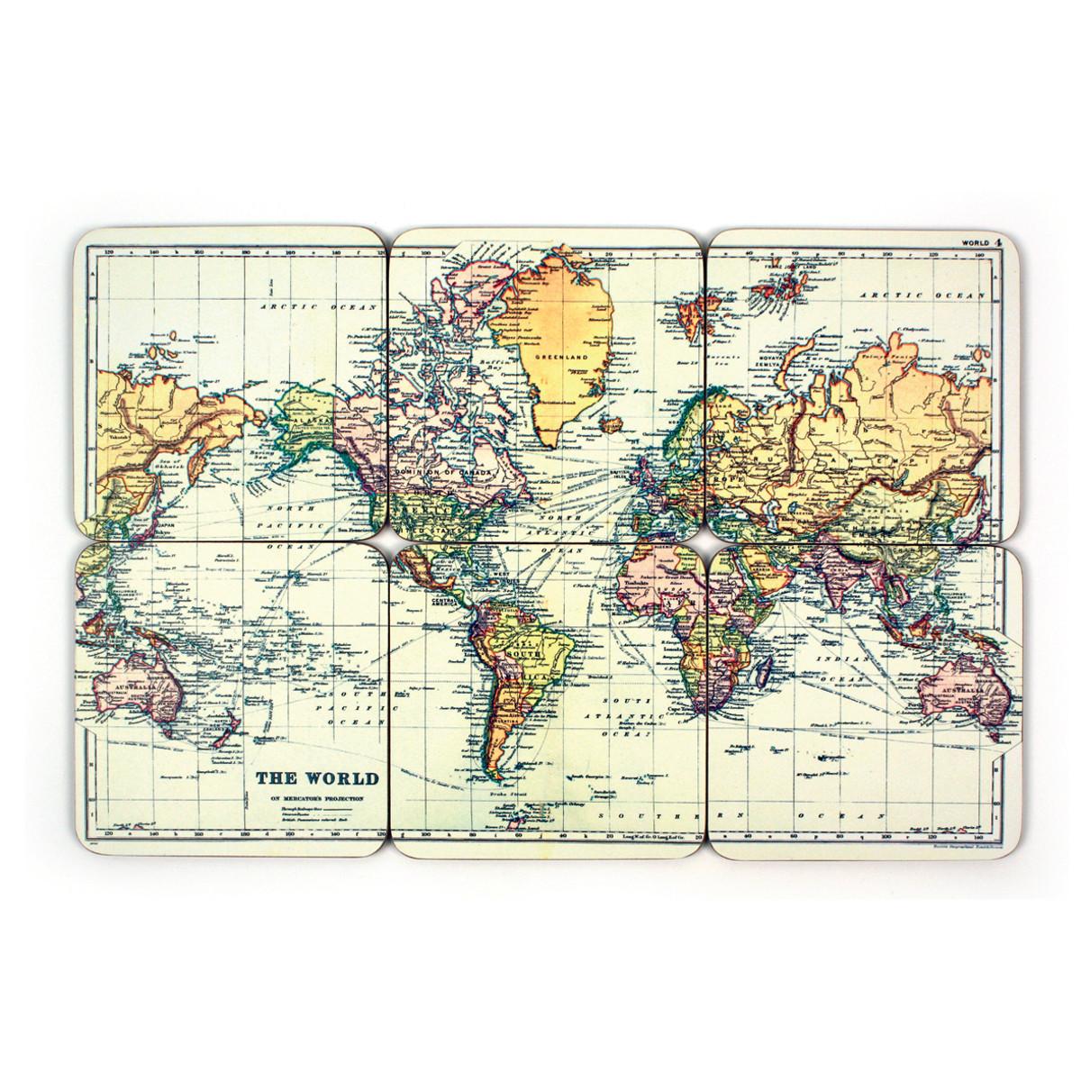 Weltkarten-Untersetzer - 6er Set