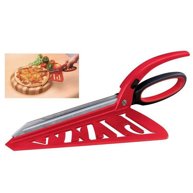 2in1: Pizzaschneider-Schere mit Servierfläche