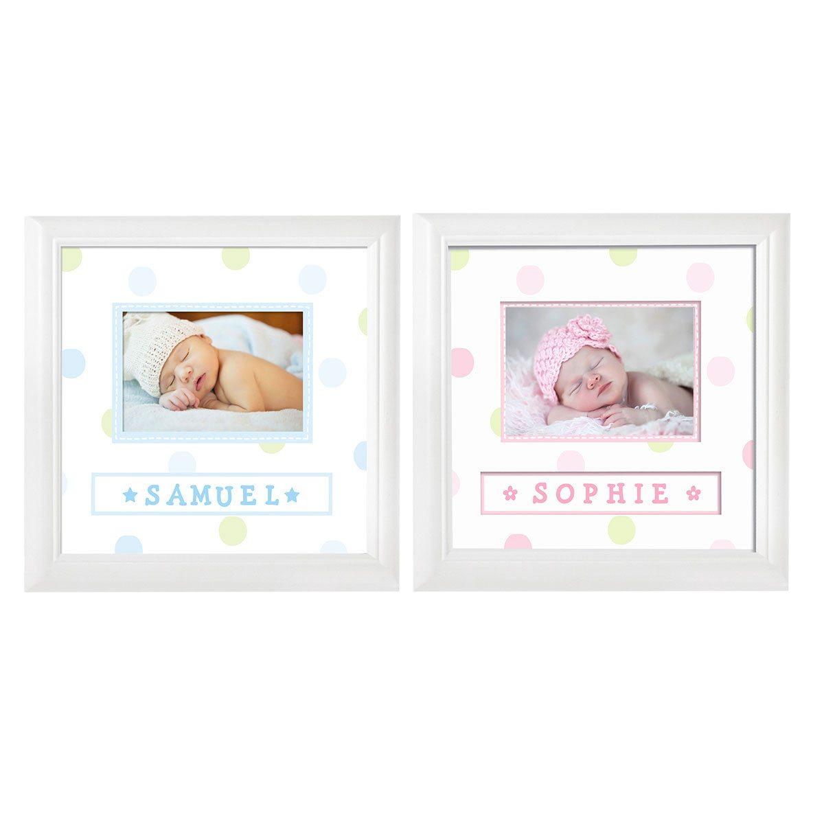 Marco para la foto de tu bebe con su nombre - Elige tu color