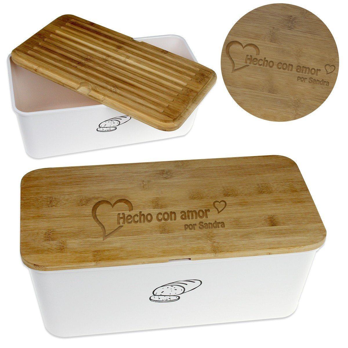 Caja para el pan con tabla de cortar personalizada