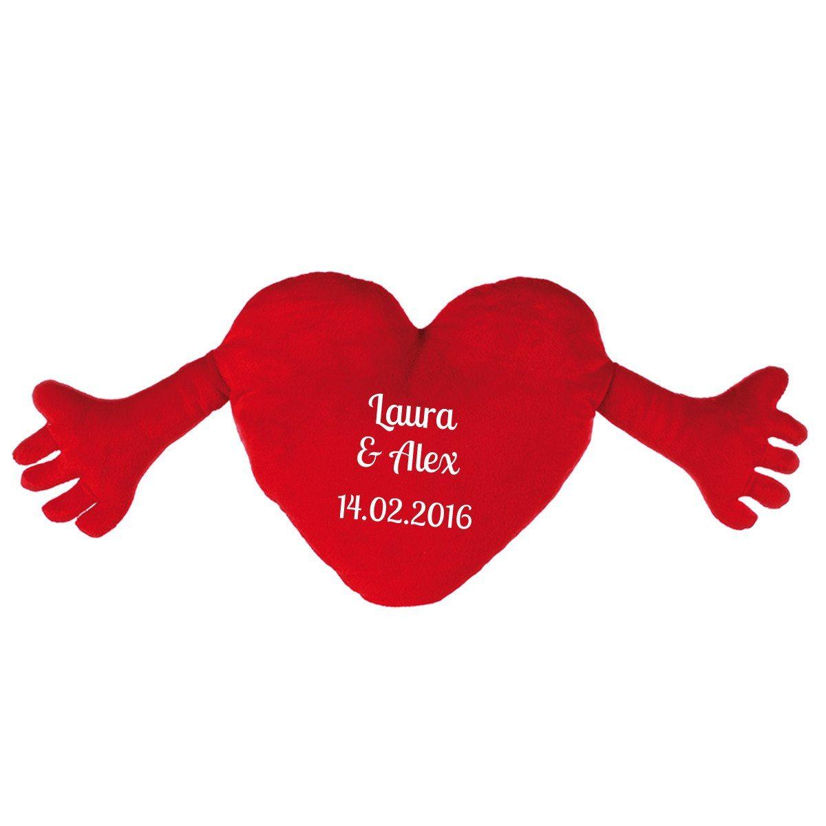 Cojín corazón con brazos - personalizable con nombre