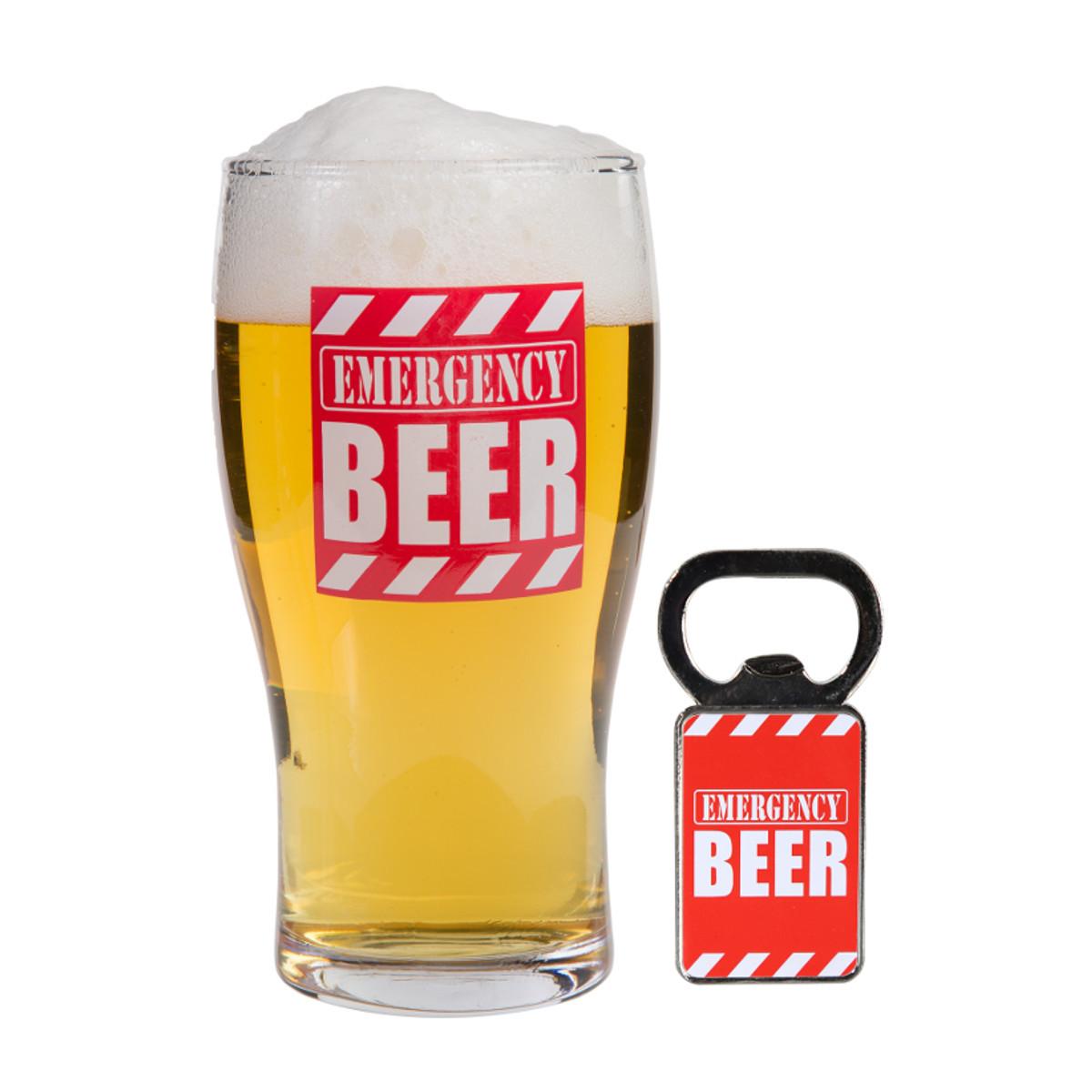 Vaso con abrebotellas - Emergency Beer