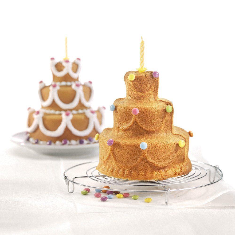 """Molde para hacer tartas de 3 pisos - """"Happy Birthday"""""""