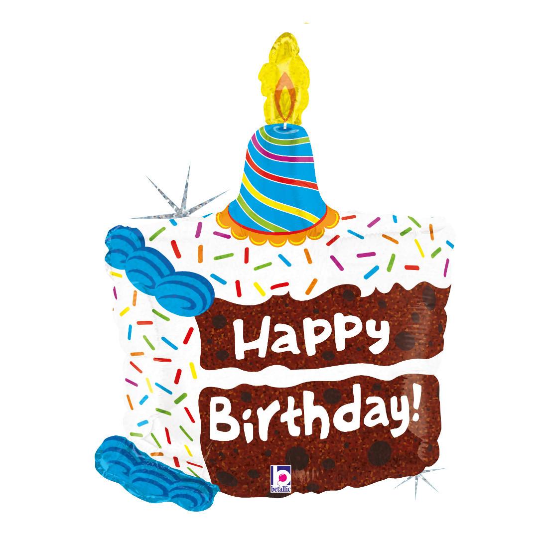"HAPPY BIRTHDAY CAKE 71 CM/ 28"" HOLO"