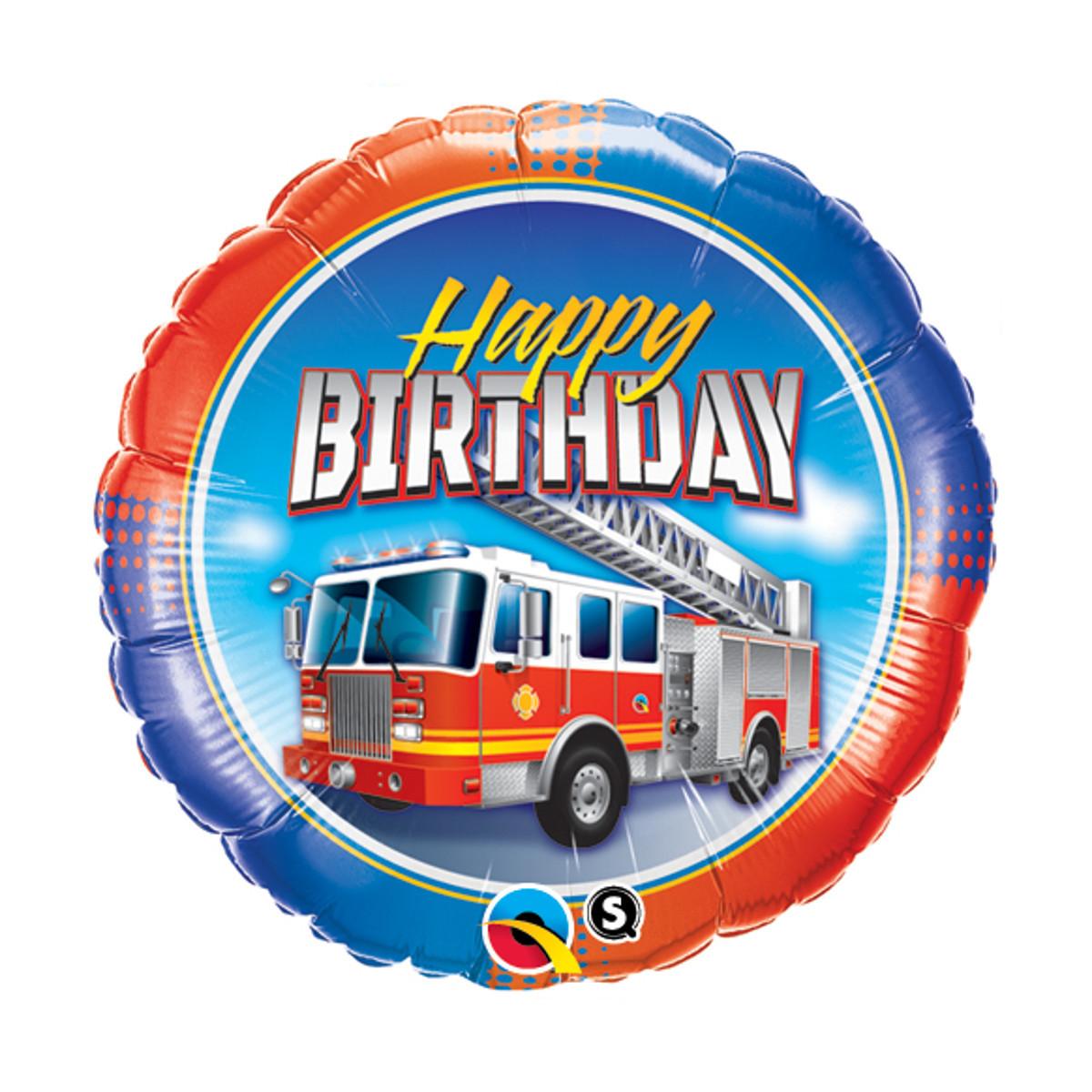 """Globo de helio """"Happy Birthday"""" (Camión de bomberos)"""
