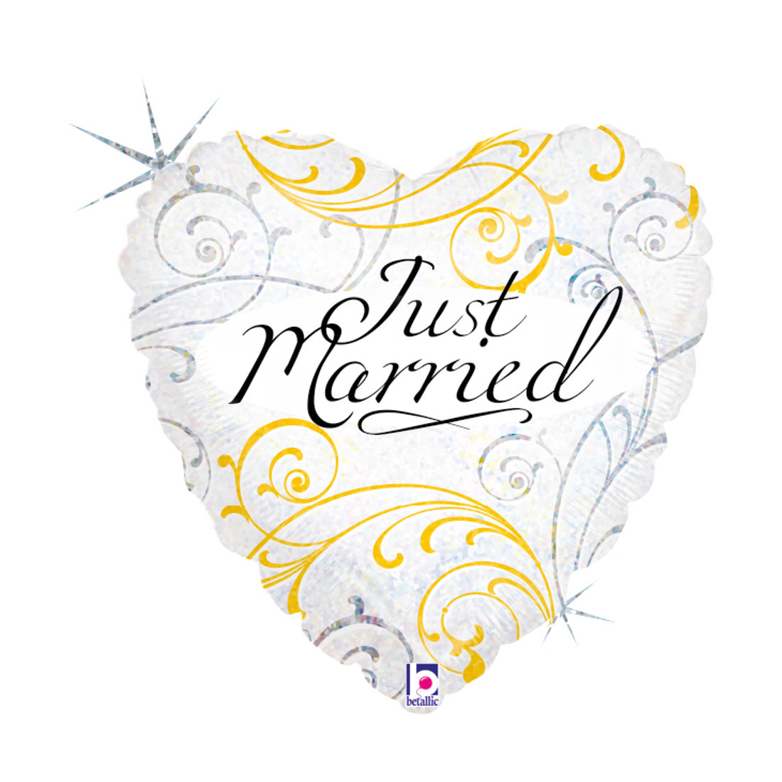 "HERZ JUST MARRIED 46 CM/HEART 18"" HOLO"