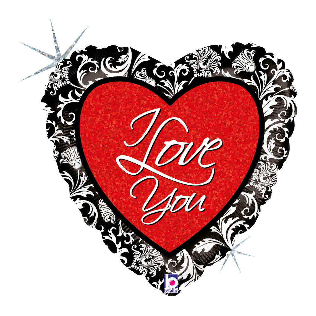 "HERZ LOVE DAMAST 46 CM/ HEART 18 "" HOLO"