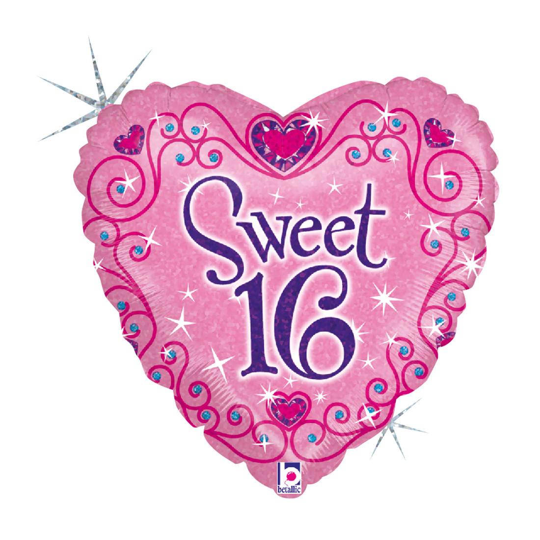 """HERZ """"SWEET 16"""" 46 CM/ HEART 18"""" HOLO"""