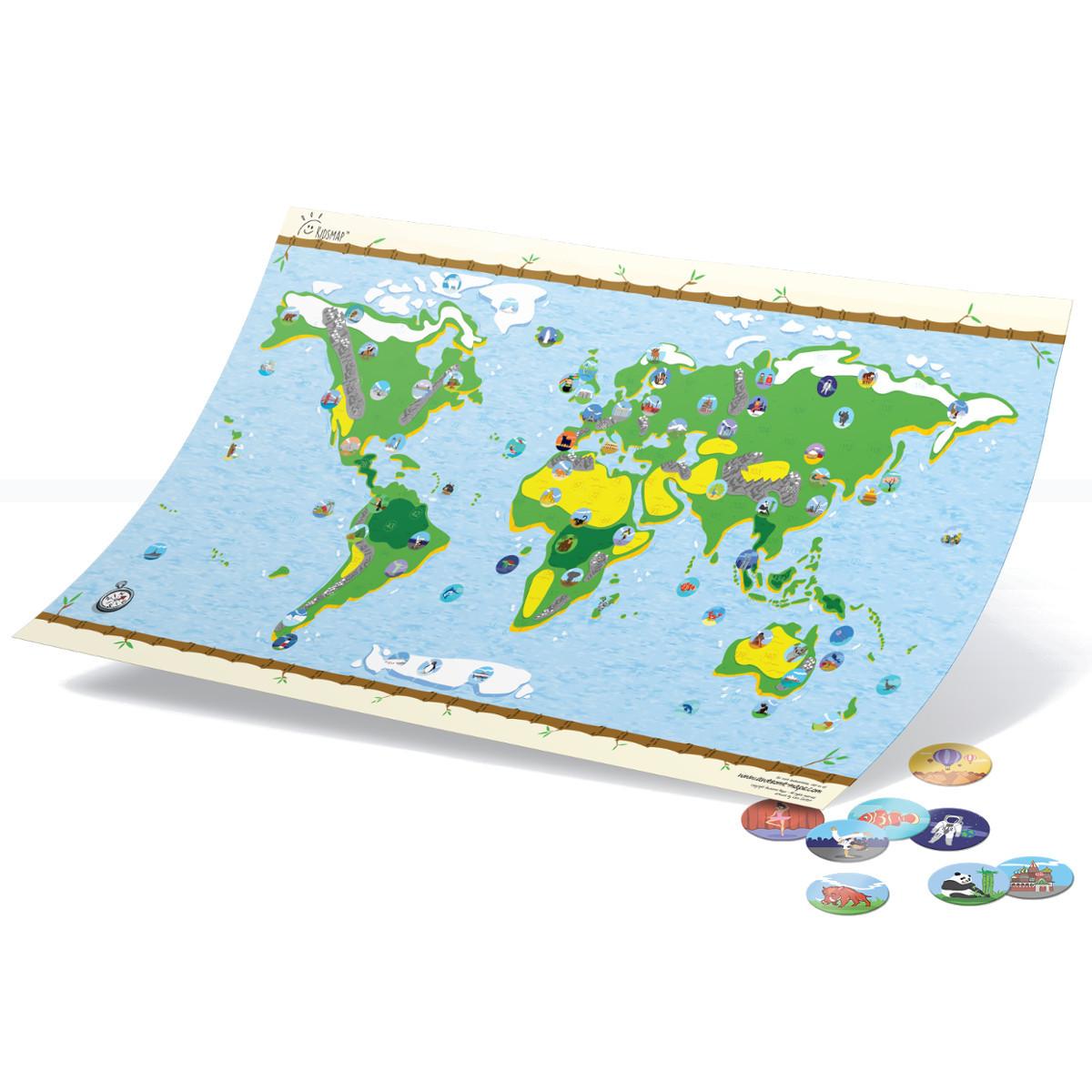 Interaktive Landkarte für Kinder mit Stickern