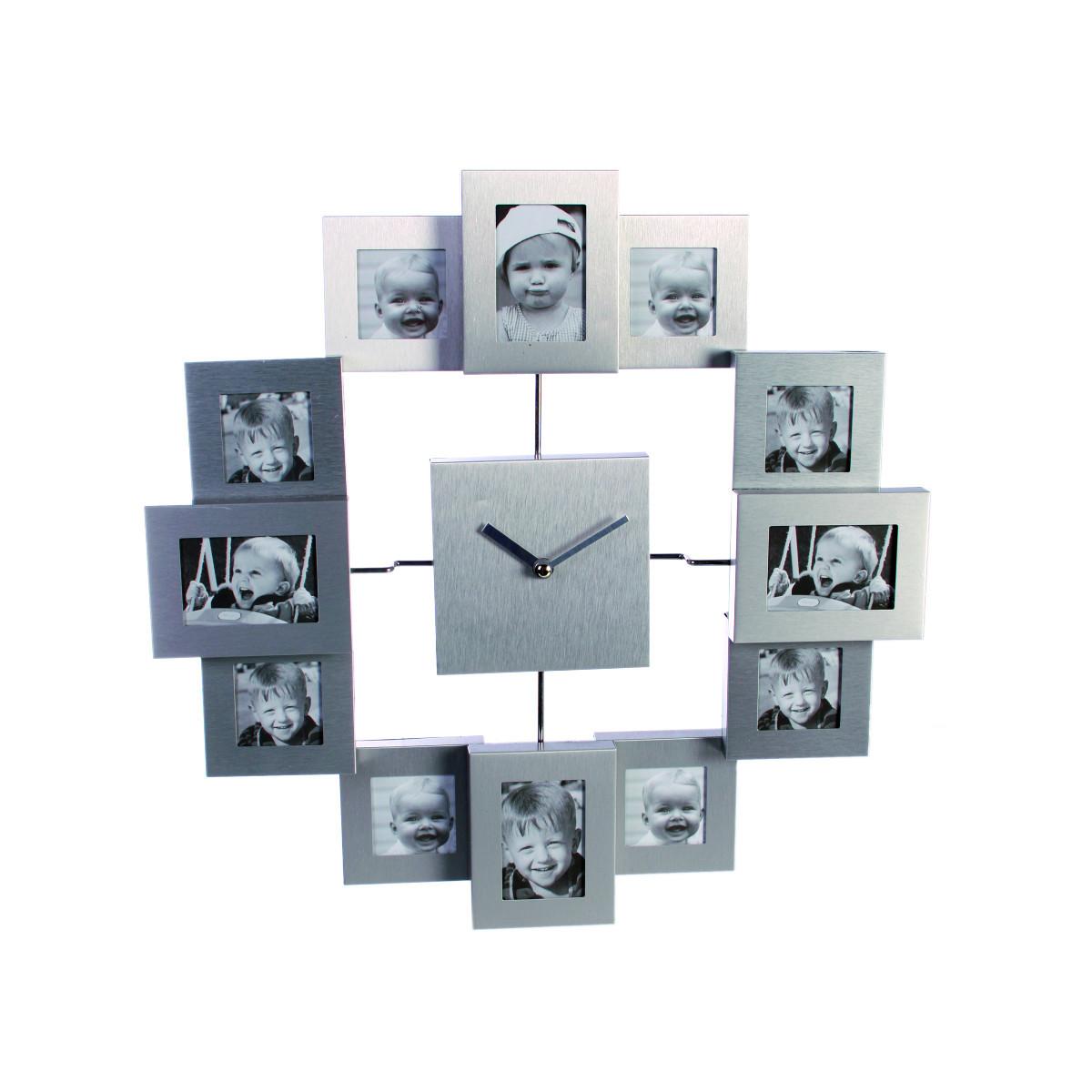 reloj de pared de metal w / 12 marcos de cuadros