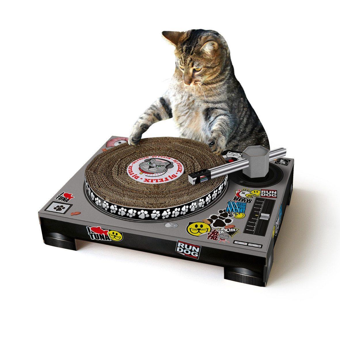 Gato Dj - Rascador divertido para gatitos con forma de tocadiscos