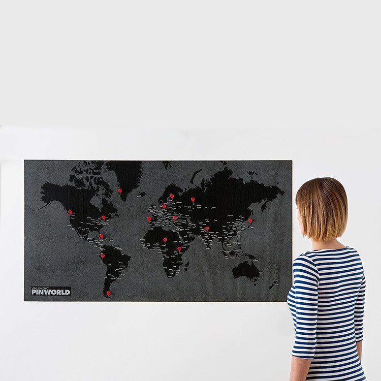 Pin World - Mapa del mundo con marcadores - negro - grande