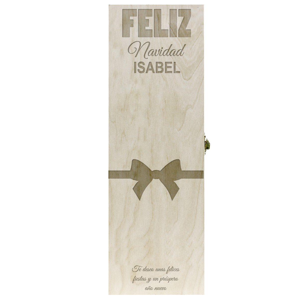 Caja de regalo para botellas de vino con grabado navideño individual