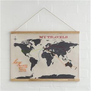 Mapa del mundo con marco de madera - Borda tus destinos
